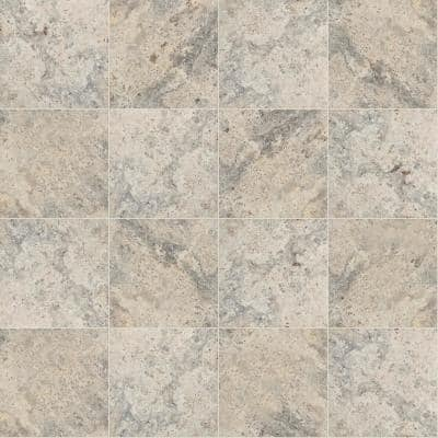 Silver 16 in. x 16 in. Gray Tumbled Travertine Paver Tile (20 Pieces/35.6 Sq. Ft./Pallet)
