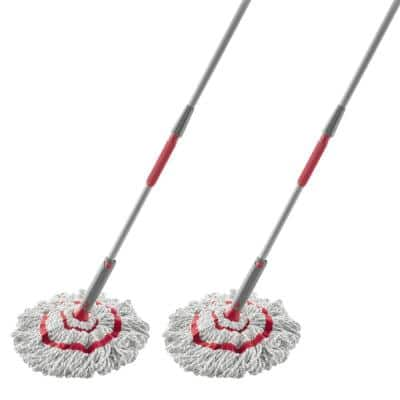 Red and White Microfiber String Mop (2-Pack)