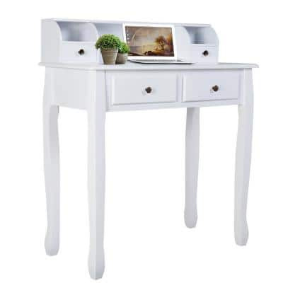 16 in. Rectangular White 4 Drawer Writing Desk with Built-In Storage