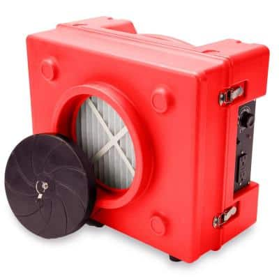1/3 HP 2.5 Amp HEPA Air Scrubber Purifier for Water Damage Restoration Negative Air Machine in Red