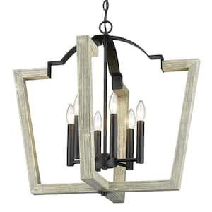 Regan 6-Light Natural Black Pendant