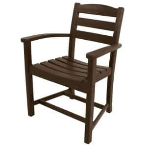 La Casa Cafe Mahogany All-Weather Plastic Outdoor Dining Arm Chair