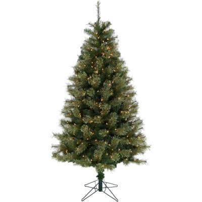 7.5 ft. Vermont Pine Green Christmas Tree with Clear Smart Lights and Stand