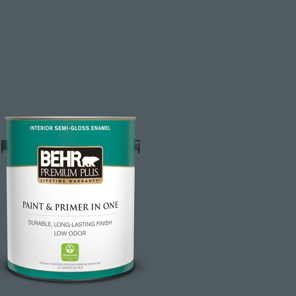 Behr Premium Plus 1 Gal Ppu25 21 City Rain Semi Gloss Enamel Low Odor Interior Paint And Primer In One 330001 The Home Depot
