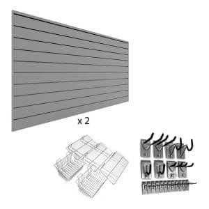 96 in. H x 48 in. W PVC Slatwall Panel Set Light Gray Ultimate Bundle (2-Panel Pack 25-Accessory Pack)