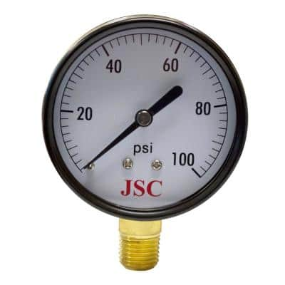 100 PSI Pressure Gauge with 2-1/2 in. Face and 1/4 in. MIP Brass Connection