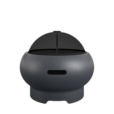 Novogratz Poolside Collection Asher 27 in. x 14.5 in. Round Ceramic Wood Burning Fire Pit Kit in Dark Gray