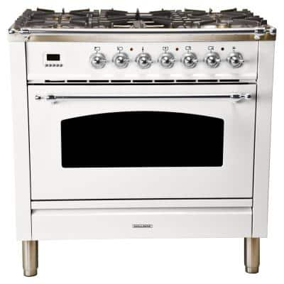 36 in. 3.55 cu. ft. Single Oven Dual Fuel Italian Range with True Convection, 5 Burners, Griddle, Chrome Trim in White