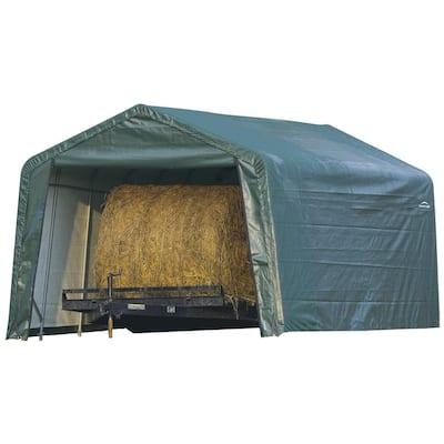 12 ft. W x 20 ft. D x 8 ft. H Green Cover Peak Style Hay Storage Shelter