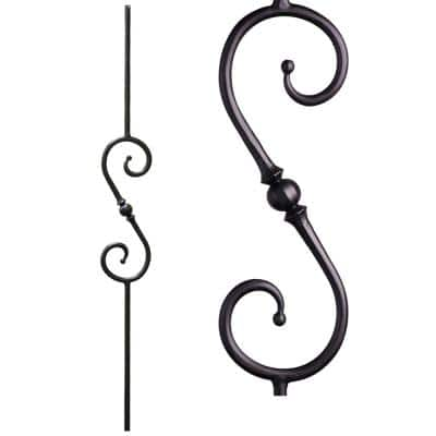 Tuscan Round Hammered 44 in. x 0.5625 in. Satin Black Single Sphere Scroll Solid Wrought Iron Baluster