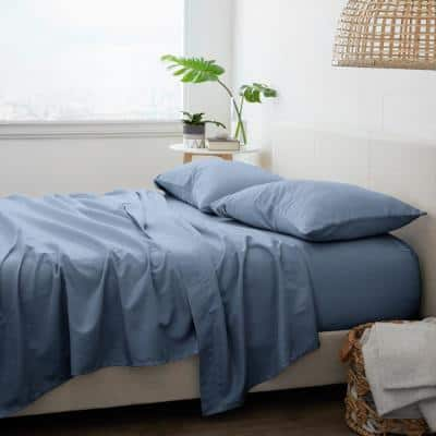 4-Piece Solid Stone Microfiber Twin Bed Sheet Set