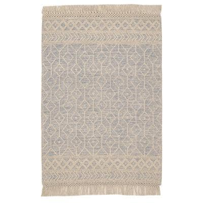 Winchester Beige/Blue 5 ft. x 7 ft. Wool Area Rug
