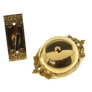 Solid Brass Craftsman Mechanical Twist Door Bell in Polished Brass
