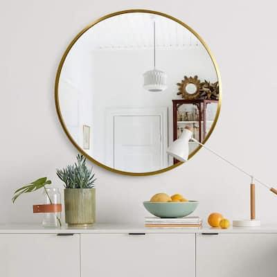 Medium Round Gold Hooks Modern Mirror (31.5 in. H x 31.5 in. W)