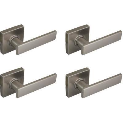 Westwood Satin Nickel Hall and Closet Door Lever with Square Rose (4-Pack)