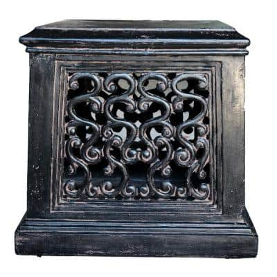 26 in. Charcoal Cast Stone Square Tapered Garden Pedestal in an Aged