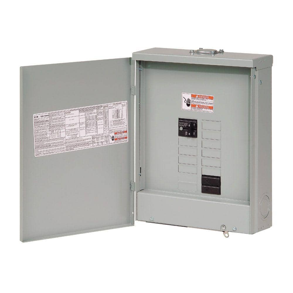 Eaton Br 100 Amp 10 Space 20 Circuit Outdoor Main Breaker Loadcenter With Flush Cover Br1020b100rf The Home Depot