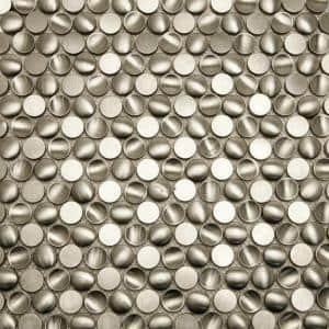 Corrie Circles Stainless 11-1/2 in. x 11-1/2 in. x 8 mm Polished Metal Mosaic Tile