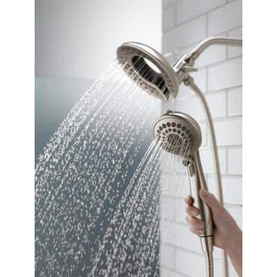 In2ition Two-in-One 5-Spray 6.8 in. Dual Wall Mount Fixed and Handheld Shower Head in Stainless