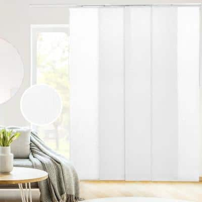 Skyrise Cut-to-Size White Light Filtering Adjustable Sliding Panel Track Blind w/ 23 in. Slats Up to 86 in. W x 96 in. L