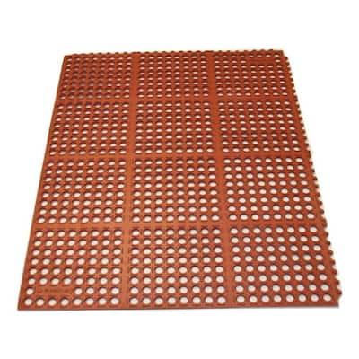 K-Series Terra Cotta 36 in. x 36 in. x 7/10 in. Drain-Thru Grease-Proof Rubber Kitchen Mat