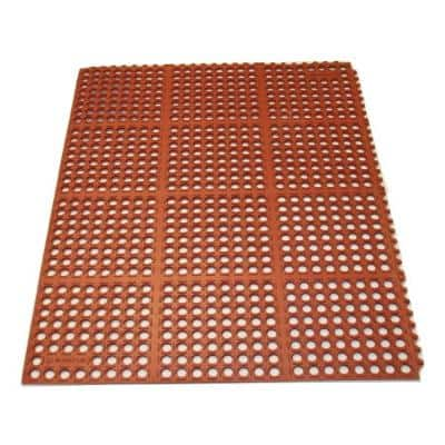 K-Series Terra Cotta 36 in. x 48 in. x 7/10 in. Drain-Thru Grease-Proof Rubber Kitchen Mat