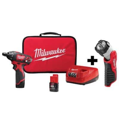 M12 12-Volt Lithium-Ion Cordless 1/4 in. Hex Screwdriver Kit with LED Light, Two 1.5Ah Batteries, Charger and Tool Bag