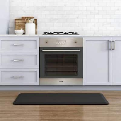 NewLife Designer Sisal Black 20 in. x 48 in. Anti-Fatigue Comfort Kitchen Mat