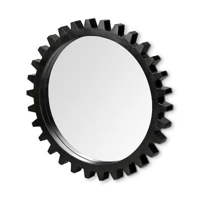 Medium Round Black Casual Mirror (36.2 in. H x 36.2 in. W)