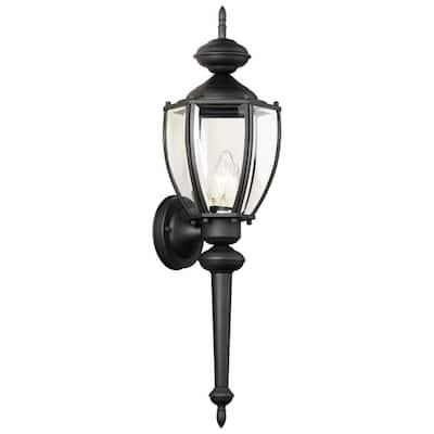 Park Avenue 1-Light Black Outdoor Wall Mount Lantern Sconce
