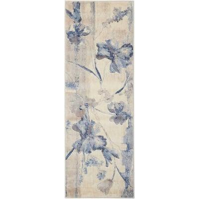 Somerset Ivory/Blue 2 ft. x 6 ft. Floral Vintage Runner Rug