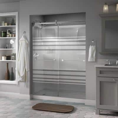 Lyndall 60 x 71 in. Frameless Contemporary Sliding Shower Door in Chrome with Transition Glass