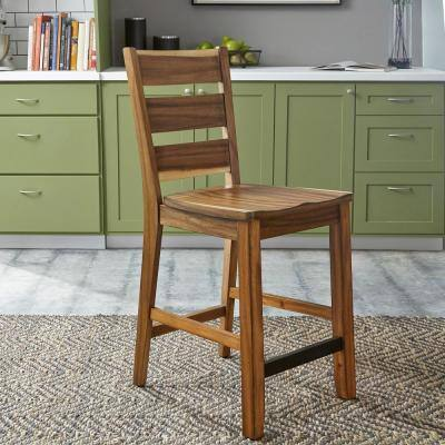 Forest Retreat 24 in. Live Teak Wood Brown Counter Bar Stool