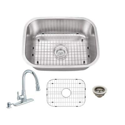 All-In-One Undermount 18-Gauge Stainless Steel 23-1/4 in. 0-Hole Bar Sink with Arc Kitchen Faucet