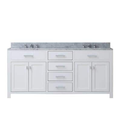 60 in. W x 21 in. D Vanity in White with Marble Vanity Top in Carrara White and Chrome Faucets