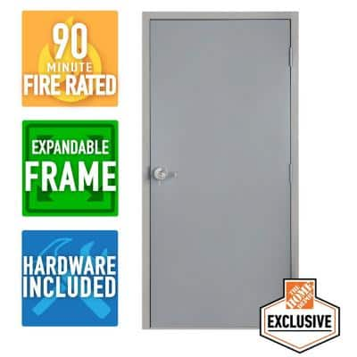 36 in. x 84 in. Left-Hand Galvanneal Steel Mill Primed Commercial Door Kit with 90 Minute Fire Rating & Adjustable Frame