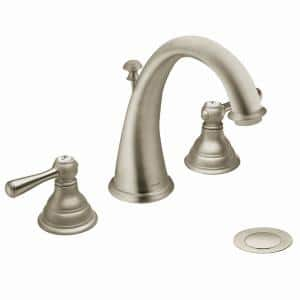 Kingsley 8 in. Widespread Double Handle High-Arc Bathroom Faucet Trim Kit in Brushed Nickel (Valve Included)