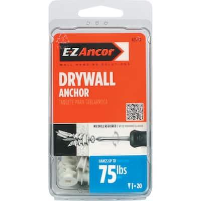 Twist-N-Lock #8 x 1-1/4 in. White Nylon Phillips Flat-Head 75 Medium Duty Drywall Anchors with Screws (20-Pack)