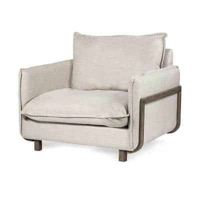 Jordan Brown Upholstered Fabric Seating Wide Accent Chair W/ Wooden Frame And Legs