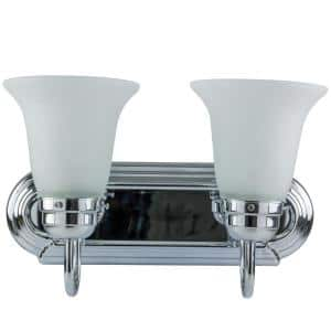 14 in. 2-Light Chrome Decorative Bathroom Vanity Light with Bell Shape Frosted Glass Shades