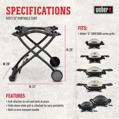 Q 1000/2000 Gas Grill Rolling Cart