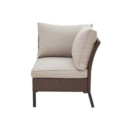 1-Piece Wicker/Rattan Outdoor Corner Sectional with Beige Cushion