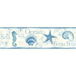 Island Bay Blue Seashells Blue Wallpaper Border