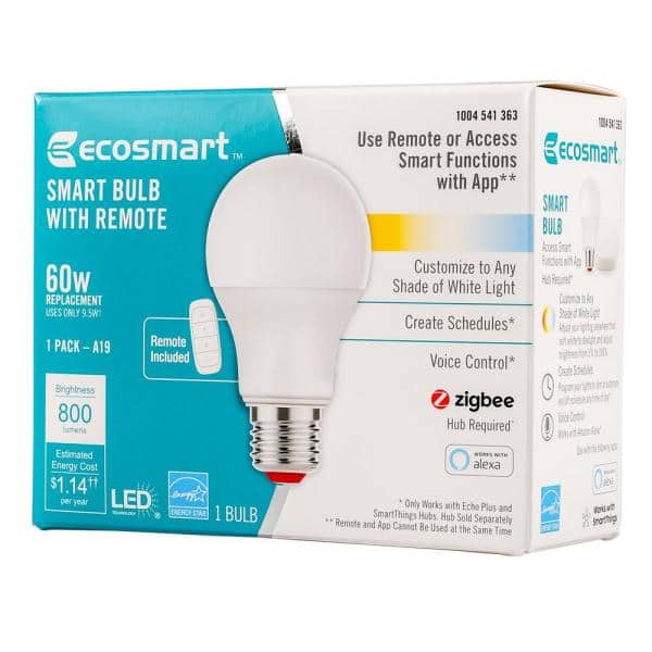 Ecosmart 60 Watt Equivalent A19 Smart Led Light Bulb Tunable White Starter Kit 1 Bulb A9a19a60wesdzr1 The Home Depot
