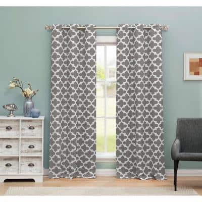 Gray Trellis Thermal Blackout Curtain - 38 in. W x 84 in. L (Set of 2)