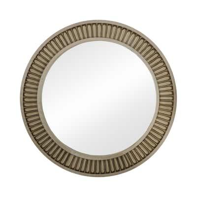 Medium Round Antique White And Beige Beveled Glass Classic Mirror (38 in. H x 38 in. W)