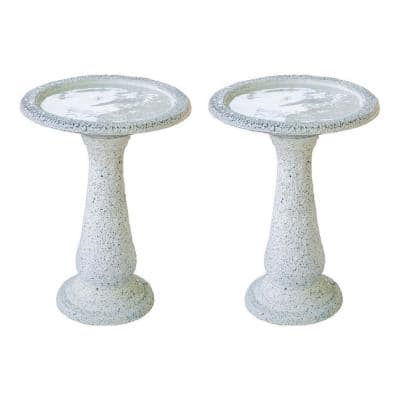 23.6 in. Tall Yellow Fiber Stone Birdbaths with Round Pedestal and Base (Set of 2)