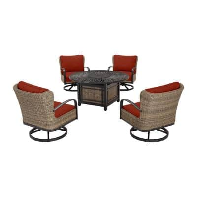 Hazelhurst 5-Piece Brown Wicker Outdoor Patio Fire Pit Seating Set with Sunbrella Henna Red Cushions