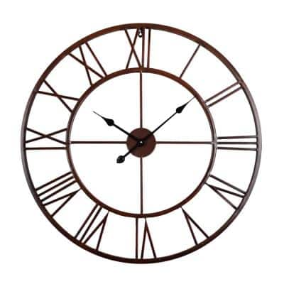27 in. Oversized Roman Round Wall Clock, Bronze