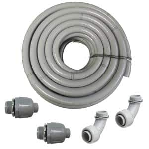 3/4 in. Dia x 50 ft. Non Metallic UL Liquid Tight Electrical Conduit Kit with 2 Straight and 2 Angle Fittings Included